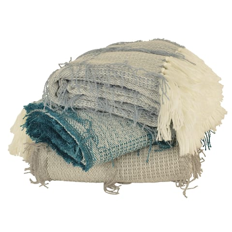 50x60 Henleigh Crazy Tassel Decorative Knit Throw