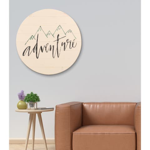 Adventure Sign Farmhouse Travel Round Wall Hanging - antique white/black/green