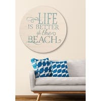 Vintage Beach Sign Farmhouse Wall Hanging - Antique White/Blue