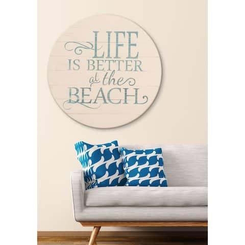 Vintage Beach Sign Farmhouse Wall Hanging - Antique White/Blue