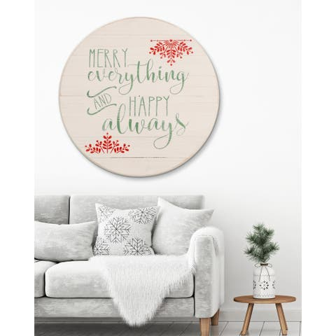 Merry Everything and Happy Always Sign Christmas Wall Hanging - antique white/green/red