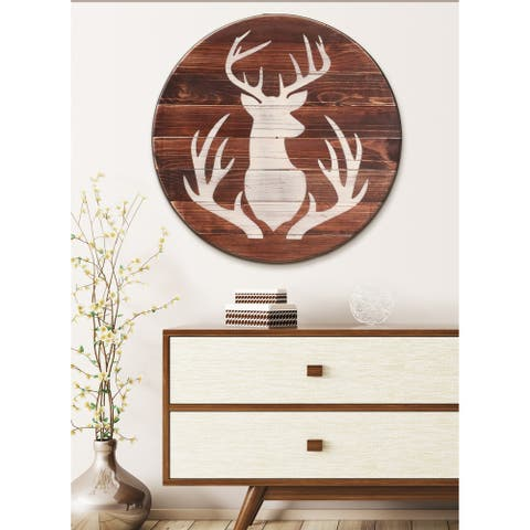 Farmhouse Deer Sign Round Wall Hanging - brown/antique white