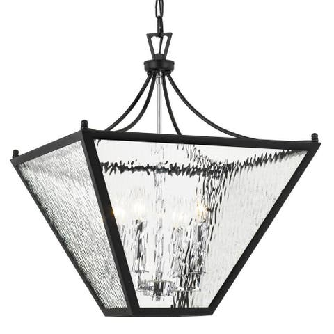 4-light Matte Black Outdoor Chandelier