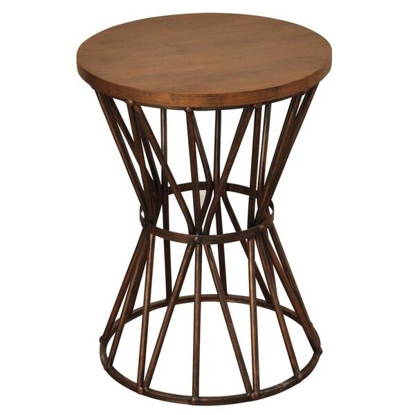 Archer Ridge Bronze and Dark Brown Circle Side Table
