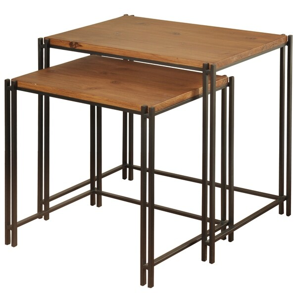 Black/ Medium Cherry Metal/ Wood Top Nesting Tables (Set of 2)