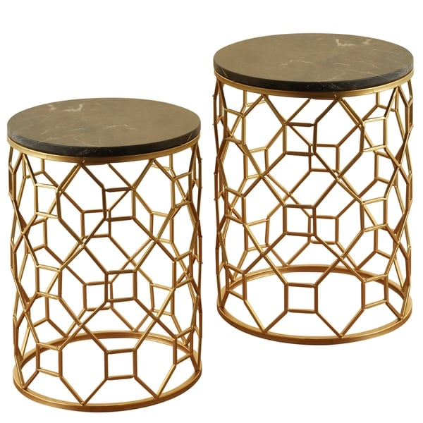 Round Light Brown Marble Top Side Tables with Goldtone Wrought Iron Base (Set of 2)