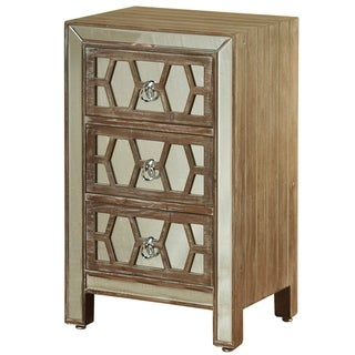 Hazelnut Wood Mirrored Front 3-drawer Side Chest