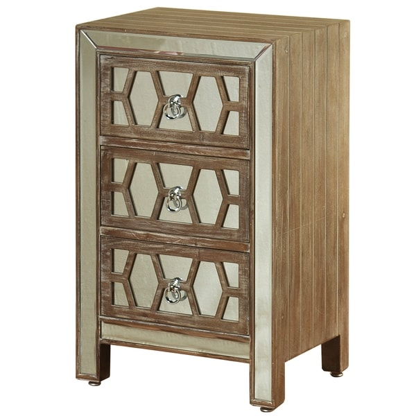 Hazelnut Wood Mirrored Front 3-drawer Side Chest