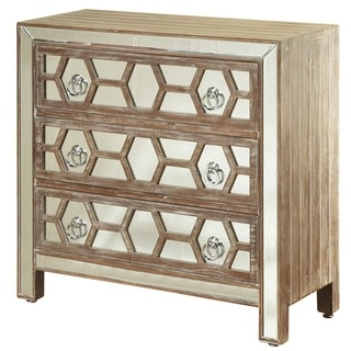 3-drawer Mirrored Front Hazelnut Wood Chest