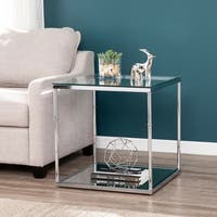 Adelaide Glass End Table w/ Mirrored Shelf