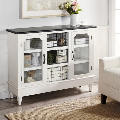 Church St. White and Black Wood 2-door Credenza with Shelf and Open Center