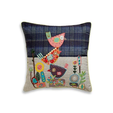 Cotton Home Birdie Stack Cotton 18 Inch Throw Pillow