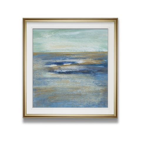 Tuscan Shore II -Custom Framed Print - blue, white, grey, yellow, green, silver, gold