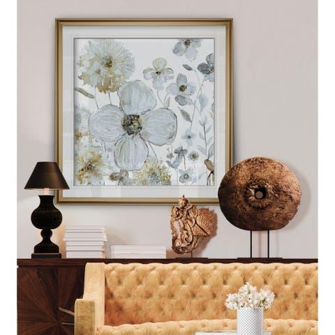 Garden Glitter I -Custom Framed Print - blue, white, grey, yellow, green, silver, gold