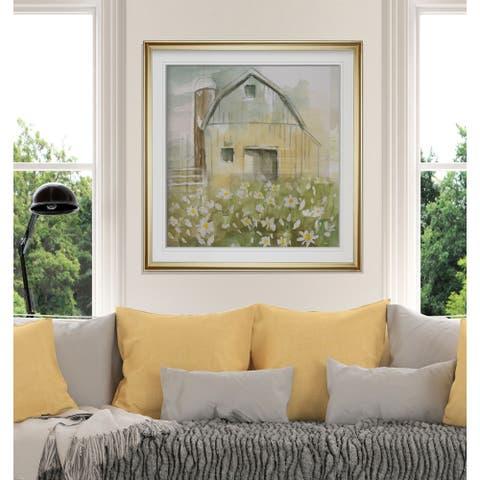 Daisy Barn -Custom Framed Print - blue, white, grey, yellow, green, silver, gold