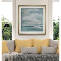 Billowing Clouds I -Custom Framed Print - blue, white, grey, yellow, green, silver, gold