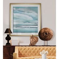 Billowing Clouds II -Custom Framed Print - blue, white, grey, yellow, green, silver, gold