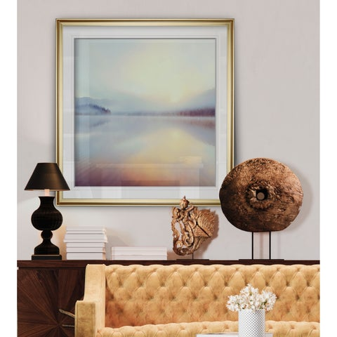 Sunrise Over Beaver Lake -Custom Framed Print - blue, white, grey, yellow, green, silver, gold