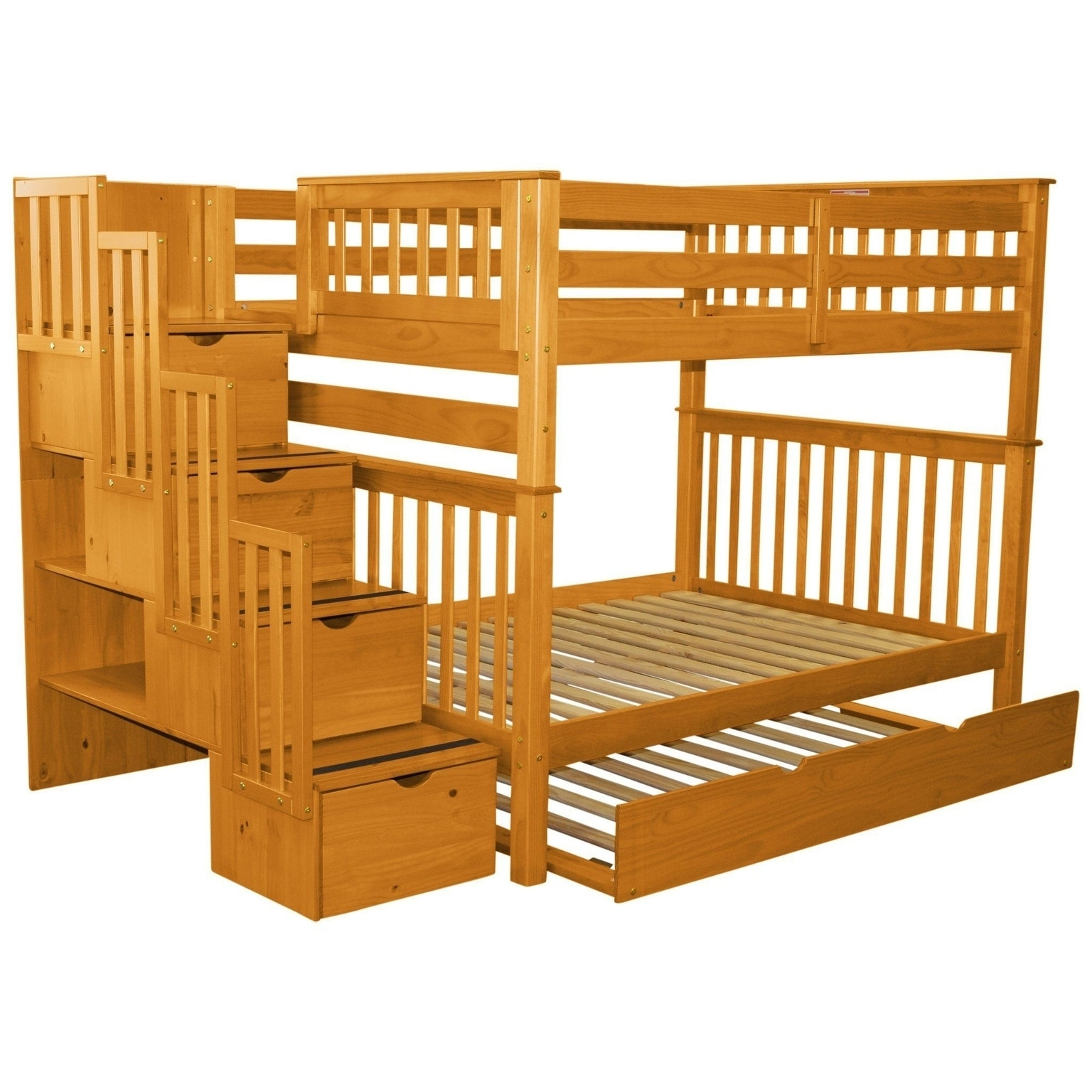 Picture of: Bedz King Stairway Bunk Beds Full Over Full With 4 Drawers In The Steps And A Twin Trundle Honey On Sale Overstock 22669708