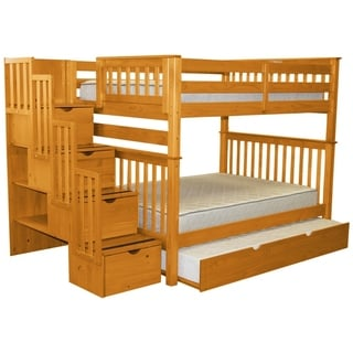 Bedz King Honey Pine Full-over-full Stairway Bunk Beds with 4 Drawers in the Steps and a Twin Trundle