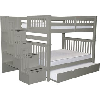 Bedz King Grey Pine Full-over-full Stairway Bunk Beds with 4 Drawers in the Steps and a Twin Trundle