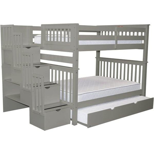 Shop Bedz King Grey Pine Full Over Full Stairway Bunk Beds With 4