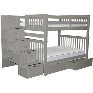 Bedz King Grey Pine Full-over-Full Stairway Bunk Beds with 4 Drawers in the Steps and 2 Under-bed Drawers