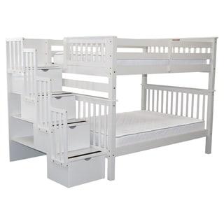 Bedz King Stairway White Wooden Full Over Full 4-drawer Bunk Bed