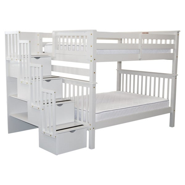 Shop Bedz King Stairway White Wooden Full Over Full 4