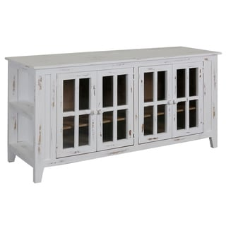 White Pine Wood 4-door TV Stand