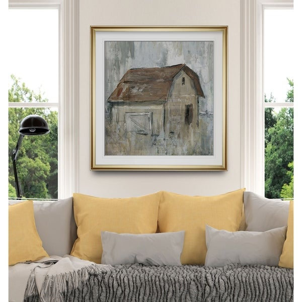 Barn At Dusk -Custom Framed Print - blue, white, grey, yellow, green, silver, gold. Opens flyout.