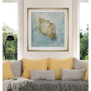 Biscayne Treasure I -Custom Framed Print - blue, white, grey, yellow, green, silver, gold