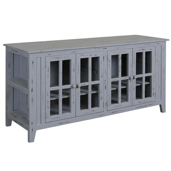 Grey Pine Wood 4-door TV Stand