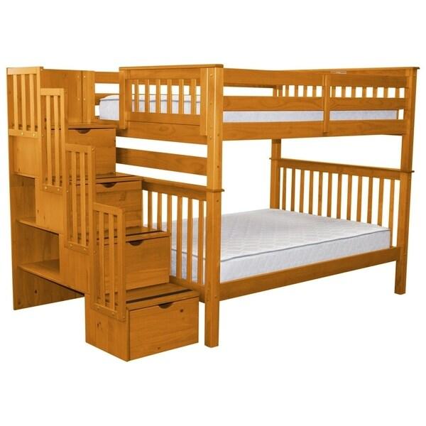 Bedz King Stairway Full-over-Full Bunk Beds