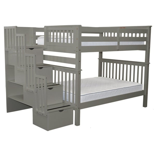 Bedz King Grey Pine Full-over-fulll Stairway Bunk Beds with 4 Drawers in the Steps