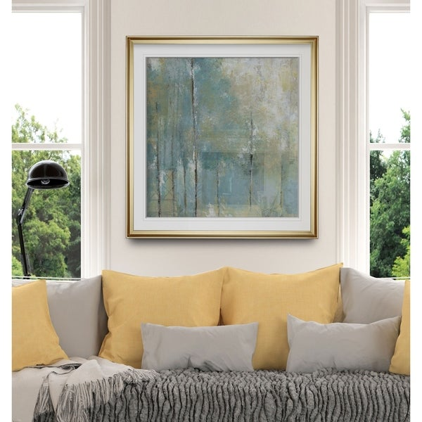 Whispering Light -Custom Framed Print - blue, white, grey, yellow, green, silver, gold