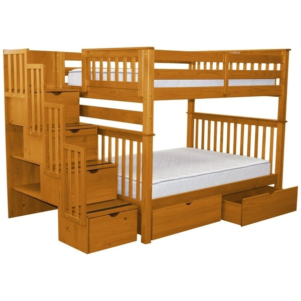 Bedz King Honey Pine Full-over-full Stairway Bunk Beds with 4 Drawers in the Steps and 2 Under-bed Drawers