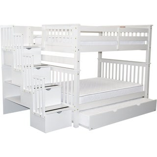 Bedz King White Pine Wood Finish Full Over Full Stairway Bunk Beds with 4 Drawers and Full Trundle