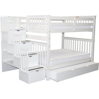 Bedz King Stairway Full over Full Bunk Beds with Twin Trundle