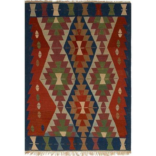 ECARPETGALLERY Flat-weave Ankara FW Navy Blue, Red Wool Rug - 5'6 x 7'11