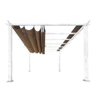 Paragon Cocoa/White Fabric/Aluminum 11-foot Canopy Pergola