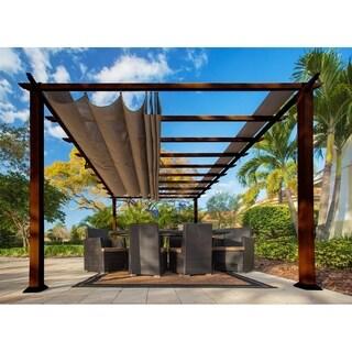 Paragon Cocoa Brown Aluminum and Fabric 11-foot x 16-foot Pergola