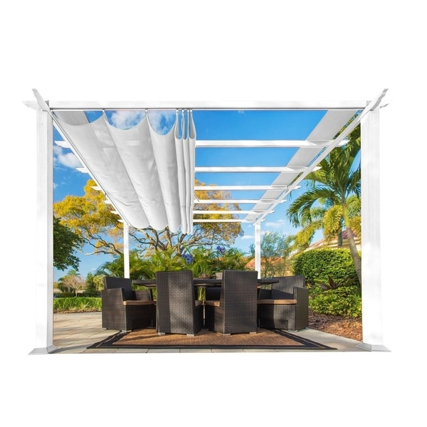 Paragon White Aluminum 11-foot x 11-foot Convertible Top Pergola
