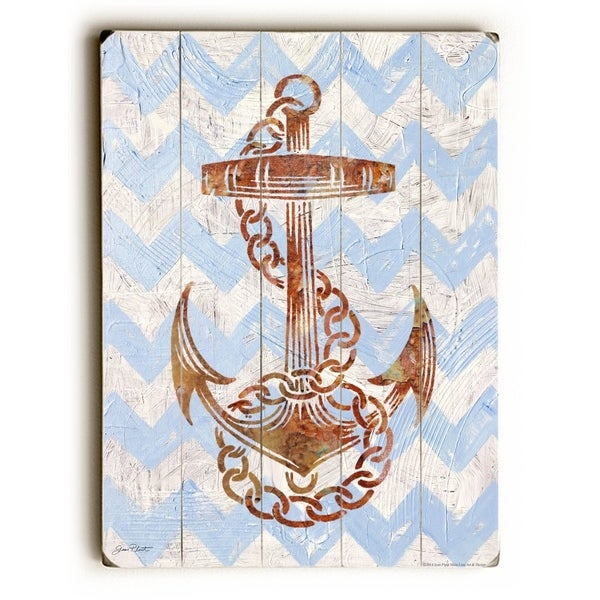 Anchors Away - Planked Wood Wall Decor by Jean Plout