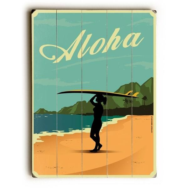 Aloha - Planked Wood Wall Decor by American Flat