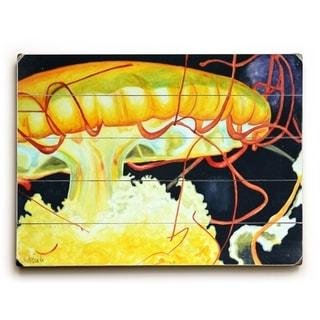 Jelly Fish -  Planked Wood Wall Decor by  Jennifer Redstreake
