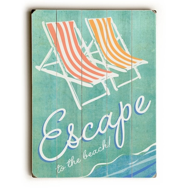 Escape to the beach - Planked Wood Wall Decor by Peter Horjus