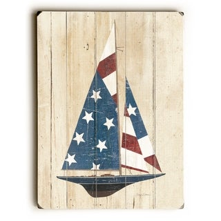 American Flag Sailboat -  Planked Wood Wall Decor by  Avery Tillmon