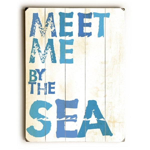 Meet me by the sea - Planked Wood Wall Decor by Peter Horjus