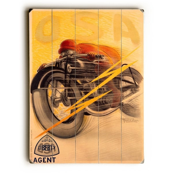 OSA Liberty Motorcycle - Planked Wood Wall Decor by Raoul Vion
